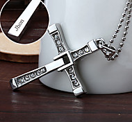 personalisiertes Geschenk, schnelle&furious Edelstahl-Kreuzförmigen Anhänger Halskette graviert Schmuck