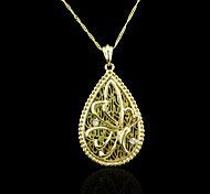 18K Real Gold Plated Butterfly Zircon Pendant Necklace