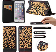 Leopard Print Pattern Genuine Leather Full Body Cases with Kickstand for iPhone 6