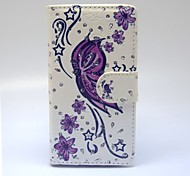 Purple Butterfly Patterns PU Leather Full Body Case with Stand and Card Slot forSamsung Galaxy A5