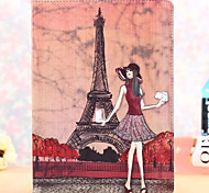 Paris Fashion Sexy Girl Pattern PU Leather Full Body Case with Stand for iPad Air