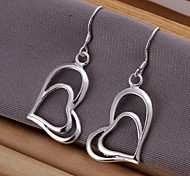 Double Heart Silver Plated  Drop Earrings 2pcs