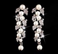 Vintage Party Wedding Princess Birde Crystal/Rhinestones&Pearls Long Silver Earring