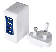Four-port USB Power Adapter/Charger (100~240V/UK Plug)