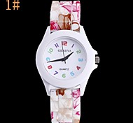 Women's Fashion Silicone Printing Color Digital Circular Silicon Tape China Movement Watches(Assorted Colors)