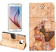 PU Leather and Plastic The Package Type Map Style with Stent Can Insert Card for Samsung Galaxy S6 (Assorted Colors)