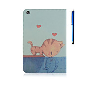 7.9 Inch Cat Pattern PU Leather Case with Stand and Pen for iPad mini 1/2/3