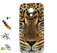 Tiger Head Pattern TPU Material And Bracket Dust Plug Touch Pen Combination Motorola MOTO G2