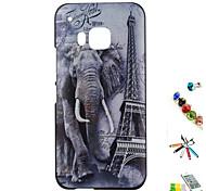 elefante modello shell rilievi dipinti materiale pc e combinazione staffa spina touch pen polvere per htc 一 (m9)