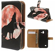 Moon Wolf Howl Wallet Card Pattern PU Case with Stand for Huawei Ascend Y550