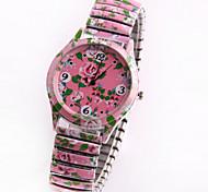 mode d'impression de charme coréen de diamants de fleurs de style des femmes montre-bracelet quartz rose analogique
