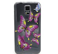 Pink Butterfly Pattern TPU Relief Back Cover Case for Samsung Galaxy S5 I9600