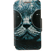 Kinston® Sunglass Cat Pattern PU Leather Full Body Cover with Stand for Huawei Honor 6X/6 Plus