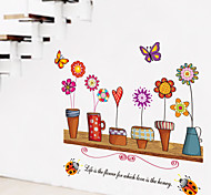 Country Style Flowerpot PVC Wall Stickers Wall Art Decals