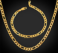 U7® 18K Chunky Gold Filled Figaro Chain Necklace Bracelet Set 4MM 22 Inches 55CM