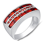 High Quality Fashion Women's Ring White Gold AAA Zircon Red Sapphire