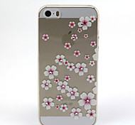 Pink Flower Pattern TPU Diamond Relief Back Cover Case for iPhone 5