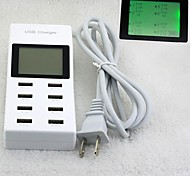 "1.88""LCD US-Plug Charging Socket with Eight USB Power Ports for Mobile Phone + More"