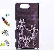 Giraffe Pattern PC Material Shell And Touch Pen Dust Plug Bracket Assembly for Sony Xperia Z3mini