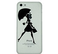 Girl Holds Umbrella Pattern Ultrathin PC Hard Back Cover Case for iPhone 5C