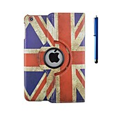 360 Degree Rotation Flag Pattern PU Leather Case with Stand and Pen for iPad 2/3/4