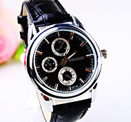 Men's  Round Dial Leather Strap Fashion Quartz Watches (Assorted Colors)