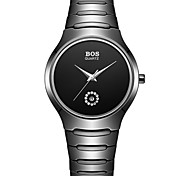 BOS Men's  Ultra-thin fashion contracted Quartz Wrist Watch Dial Black watch