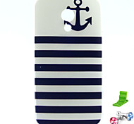Striped Anchor Pattern TPU Soft Case with Anti-dust Plug and Stand for Motorola MOTO G2
