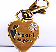 Women's New Explosion Heart shaped Diamond Dial Fashion Keychain Watch