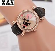 Women's Fashion Diamond Lovely Cat Quartz Analog Leather Belt Wrist Watch(Assorted Colors)