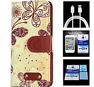 modello di farfalla schermo caso + 1 hd corpo protector + 1 cavo di ricarica USB per Samsung Galaxy Note 4