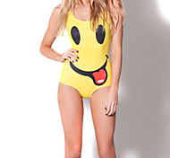 Women's Yellow Polyester Printed Smile Sexy One-piece Swimwear