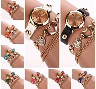 Women's  Circle  Dial Diamate Heart  Band Quartz Analog Fashion Bracelet Watch (Assorted Color)C&D291