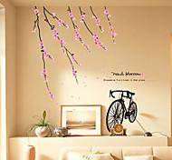 Romantic Peach Blossom Bike PVC Wall Stickers Wall Art Decals