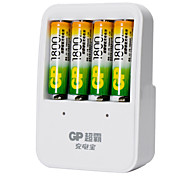 GP US Plug Battery Charger for AA/AAA Rechargeable Ni-MH Battery (Included 4x1800mAh AA)