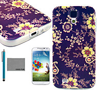 COCO FUN® Yellow Vine Pattern Soft TPU Back Case Cover with Screen Protector and Stylus for Samsung Galaxy S4 I9500