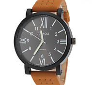 Men's Military Design Khaki Leather Band Quartz Wrist Watch