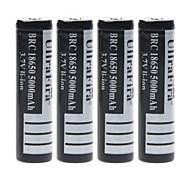 ullra 3.7v 5000mah fira 18650 batería de iones de litio recargable (4pcs)