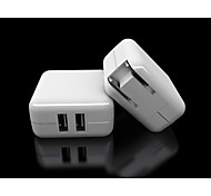 Dual USB Power Charger Adapter YC-CDA2 for iPhone / iPad / Samsung / HTC / LG- White (US Plug)