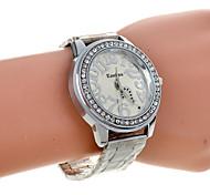 strass quadrante grande numero orologio al quarzo argento delle donne