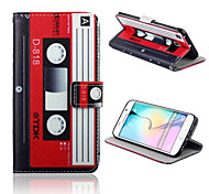 Tape Pattern PU Leather Full Body Case with Card Slots And Stand Case for  Samsung Galaxy S6 edge
