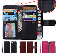 Solid Color Wrist Strap Genuine Leather Wallet Cases with 9 Card Slots for iPhone 6 Plus