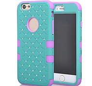 2014 New 3 in 1 Combo Hybrid Case Glitter/bling Studded Diamond Dual Layer Pc&silicone Protective Case for iPhone 6