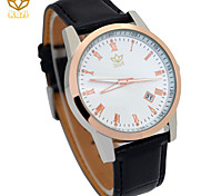 Men's Round Dial Casual Watch Leather Strap Japanese Quartz Watch Wrist Watch (Assorted Colors)