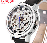 Herren-Gold-Silber-Drache teilweise hohl transparent automatische mechanische Uhr Leder Armbanduhr (farbig sortiert)