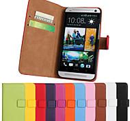 einfarbig stilvolle echte PU-Leder Flip-Cover Brieftasche-Kartensteckplatz Fall mit Stand für htc eins m7 (farblich sortiert)