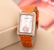 dourado relógio de couro strass banda de pulso de quartzo analógico das mulheres SINOBI (cores sortidas)