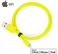 MFi Certified Lightning 8 Pin USB Sync Data / Charging Cable for iPhone 7 6s 6 Plus SE 5s 5 iPad (100cm,Yellow)