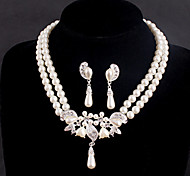 Wedding Bridal Earring Necklace Bracelets Jewelry set With Pearls CZ Crystal