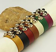 Fashion Women's Leather Bracelet with Bonehead